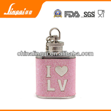 pink glitter 1oz hip flask with key ring as presents for friends or lovers