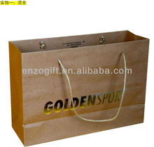 kraft paper bag with handle, Luxury OEM paper shopping bag golden print