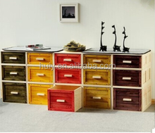 Wooden decorative storage trunks with drawers