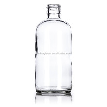 Large capacity 8 oz Clear Glass Boston Round Bottle 24-400 for Liquid Medicine