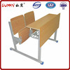 Stable frame double child wooden desk and chair in hot sale