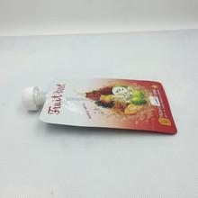 Custom plastic lined foil fruit juice pouch with reclosable spout