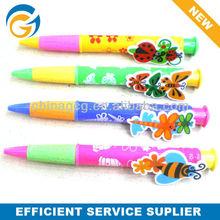 Flower Stylus Rubber Grip Jumbo Ball Pen