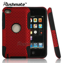 Red Black Mobile Phone Accessory For Ipod Touch 4 Hard Net Shell Soft Silicone Combo Case