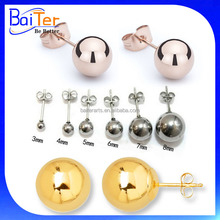 18K Rose Gold& Yellow Gold Plated 925 Sterling Silver Ball Stud Earrings 14K Yellow Gold Plated Ball Stud Earring For Men&Women