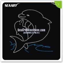 lovely dolphin DMC hotfix rhinestone custom design for clothes trimming