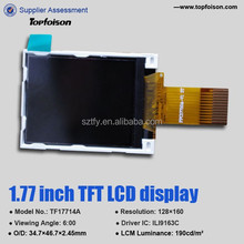 factory supply 1.77inch TFT LCD Sample is available with resistive touch panel for consumer electroinics