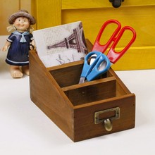 2015 Newest Natural Wooden Organizer For Remote Control, Scissors Holder