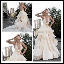 V Neck Ruffled Flower A Line Floor Length Custom Make Long Formal Bridal Design Robe De Mariee HS027 modest wedding dress