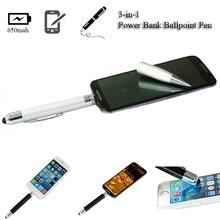 Factory OEM 3 in 1 aluminum ball point pen stylus powerbank