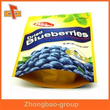 OPP laminated plastic stand up zip top bag for dried fruit packaging with foil inside