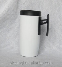 Double wall stainless steel travel mug with handle
