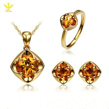 Solid 18 Karat Solid Yellow Gold Natural 2.9ct Citrine Bridal Jewelry Sets