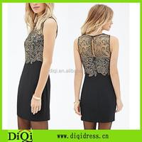 Sublimation ladies slim fit column dress pattern crochet lace overlay gold black crochet lace combo dress