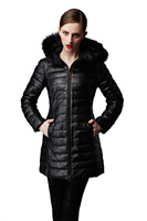 Women Winter Hooded Goose Down Jacket Fashion Leather Coat for Woman