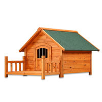Outdoor Wooden Dog House with Veranda / Dog Kennel for Large Dog