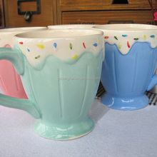 Hot sale lovely colorful ceramic cup ice cream