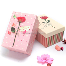 Custom fair paper birthday gift box with lid and flower printed no minimum factory price in China