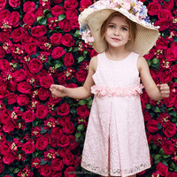 Boutique korean casual girls frocks dresses simple lace a-line children frocks designs beautiful modern dresses for children