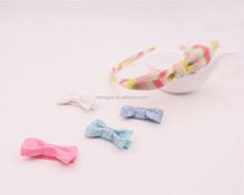 Trendy Colorful Stripe Headband Glitter PU Hair Clips 5 in 1 Set Hair Accessories for Baby Girls