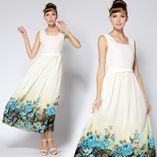 Station advanced development of United States Princess positioning of Hawaiian flower twist waist Slim skirt dress Casual Dress