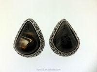 New simple black single stone earring designs