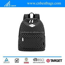 "Lightweight Casual Daypack Canvas Polka Dot Backpack 14""-15"" Laptop PC School Bag for Teenage Girls"