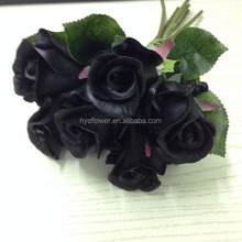 high quality artificial flowers bouquets artificial black flowers pu rose bud bouquet