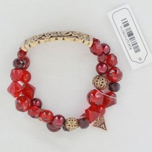 Women's Custom Party bracelet , gold sign with red beads