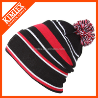 Wholesale acrylic sport winter knit custom beanie hat with pompom