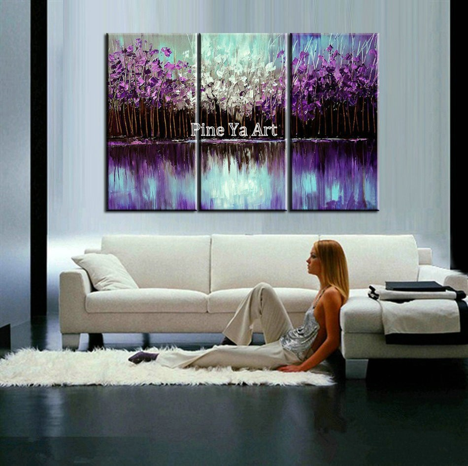 Buy Abstract modern Purple tree 3 piece canvas wall art Knife acrylic oil painting set on canvas for living room pictures decoration cheap