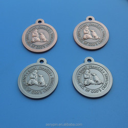 bronze/Silver disc bless and protect my pet medals St. Francis dog tags