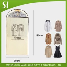 Non woven travel long gown outer overcoat cloth closet storage suit cover garment bag