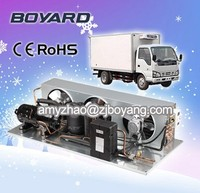 refrigeration unit for truck and trailer with hermetic rotary horizontal compressor condensing unit