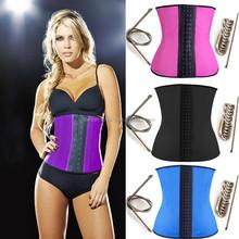 Women's Latex Sports waist cincher Fajas Colombianas Purple 3 Rows of Hooks corset