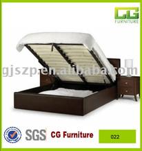 morden wooden bedroom furniture storage leather bed