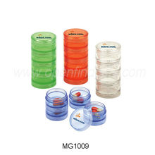 Promotional plastic round shaped pill box/case/container MG1009