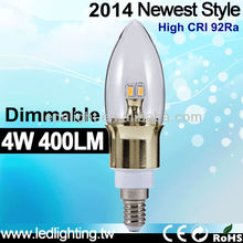 E12 e14 4w led candle lamps super warm 2500k with 92Ra very close to Halogen bulb