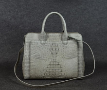 crocodile tote bag_ exotic handbags- crocodile large tote bag with long strap-beige colors bag