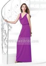 Charming Cowl Neck Straps A-line Purple Long China Bridesmaid Dresses b65