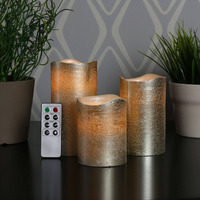 Flameless Candles - Real Wax, Pillar, Cream Color, Long Hours of Lighting, Battery operated, with remot,yankee candl