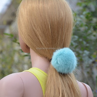 2015 New Arrive Cute Rabbit fur Ball Rubber Hair Band Women's Headwear Lady Elastic Cord Hair Accessory