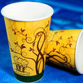 Color plano desechables bebida caliente tazas de papel, Cuadro de taza de té, Marrón de papel taza de café