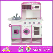 2015 Wooden play toy kitchen for kids,lovely wooden role play toy kitchen,Modern design diy toy kitchen for children W10C075B-x