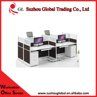 environment protect 4 person bureau working office desk partner cubicle with lower cabinet