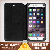QIALINO Premium Quality Tailored Handmade Top Head Leather Mobile Phone Leather Case Vertical For Iphone6