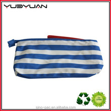 2015 Fashion Blue Striped Cutomized small size from China manufacturer unique shape zipper top plastic PVC cosmetic makeup bag