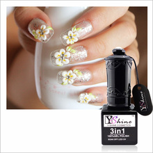 3D gel nail designs decorated with flowers