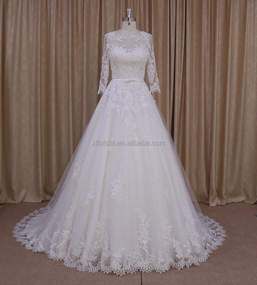 Hem A Lace Wedding Dress : Hem lace long sleeve muslim wedding gown buy