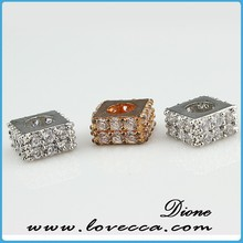 2015 Fashion crystal micropave jewelry 925 silver cz pave square bead jewelry